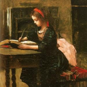 Жан Батист Камиль Коро - Девочка перерисовывает текст книги, чтобы научиться писать