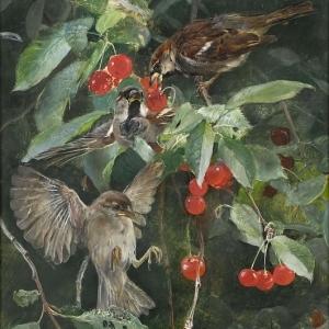 Бруно Лильефорс - Воробьи на вишнёвом дереве