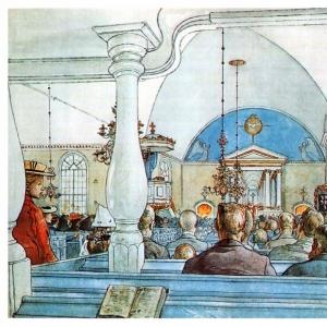 Карл Ларсон - В церкви, 1905