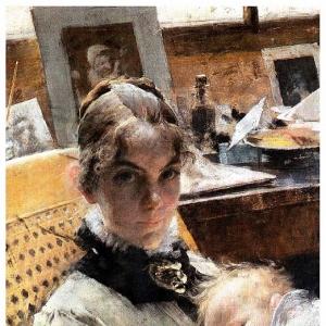 Карл Ларсон - Идиллия в студии, 1885