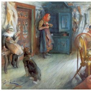 Карл Ларсон - Интерьер крестьянского дома зимой, 1890
