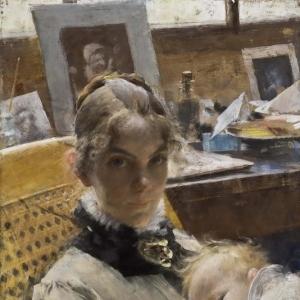 Карл Ларсон - Идиллия в студии. Жена художника и их дочь
