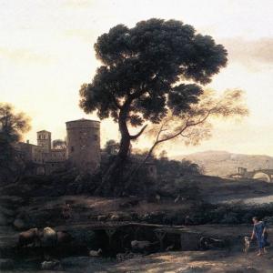 Клод Лоррен - Пейзаж с пастухами и мостом Молле