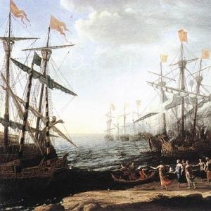 Клод Лоррен - Морской пейзаж со сценой сжигания троянцами своих кораблей