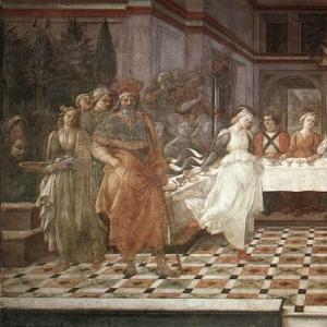 Филиппо Липпи - Пир Ирода, 1452-66 (фреска, кафедральный собор Прато)