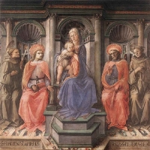 Филиппо Липпи - Мадонна на троне в окружении Святых