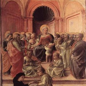 Филиппо Липпи - Мадонна и младенец со Святыми и прихожанином