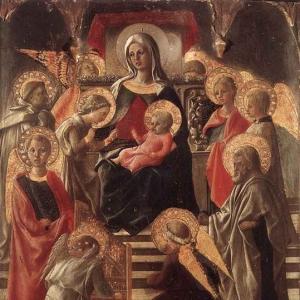 Филиппо Липпи - Мадонна и младенец на троне в окружении Святых