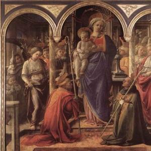 Филиппо Липпи - Мадонна и младенец со Св. Фредианом и Св. Августином