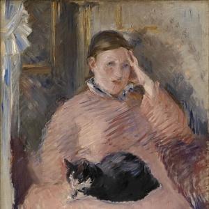 Мане Эдуард - Женщина с кошкой (Портрет мадам Мане)