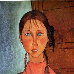 Амедео Модильяни - Девочка с косичками, 1917