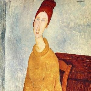 Амедео Модильяни - Жанна Эбютерн в желтом свитере, ок.1919