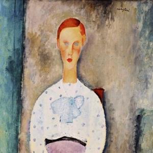 Амедео Модильяни - Девушка в блузке с узором в горошек, 1919