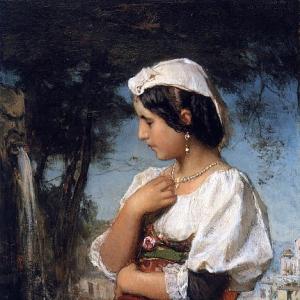 Якоб Марис - Итальянская девушка у фонтана