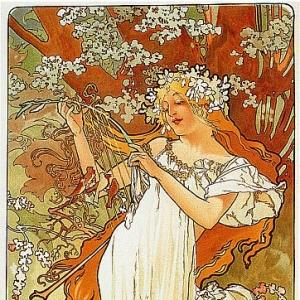 Муха Альфонс Мариа - Весна (ширма -Времена года-)
