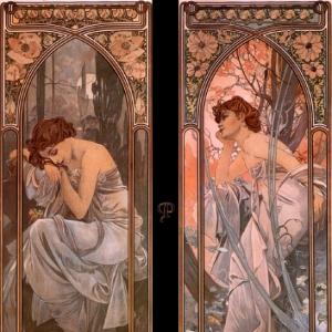 Муха Альфонс Мариа - Вечерние мечты - Ночная дремота, 1889