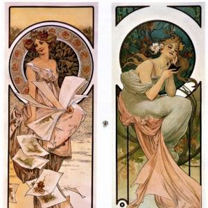 Муха Альфонс Мариа - Календарь, реклама шампанского, 1897