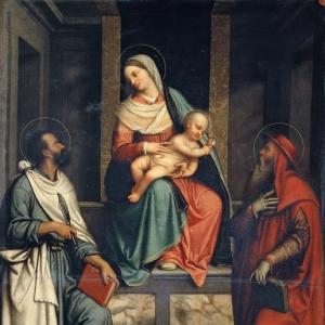 Моретто да Брешиа - Мадонна с грушей (Мадонна с Младенцем и святые Иероним и Варфоломей)