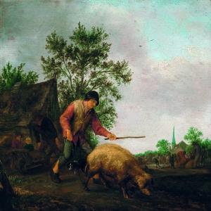 Исаак ван Остаде - Крестьянин со свиньей