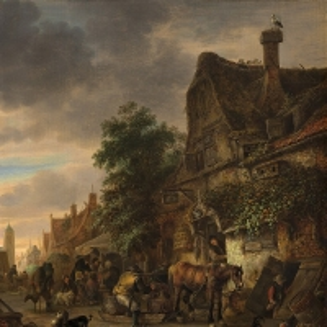 Исаак ван Остаде - Работники у таверны