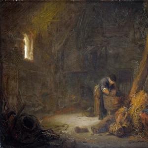 Исаак ван Остаде - Интерьер сарая с двумя крестьянами