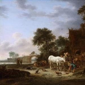 Исаак ван Остаде - Крестьянский трактир и лошадь у кормушки