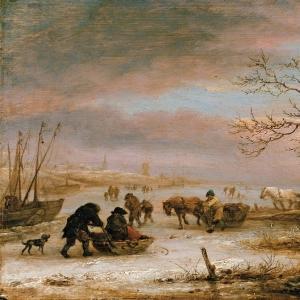 Исаак ван Остаде - Зимний пейзаж с вмерзшей в лед лодкой