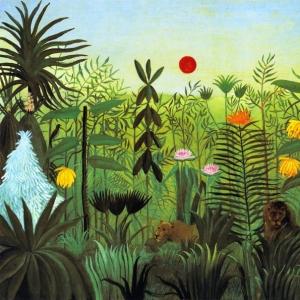 Анри Руссо - Экзотический пейзаж с львом и львицей