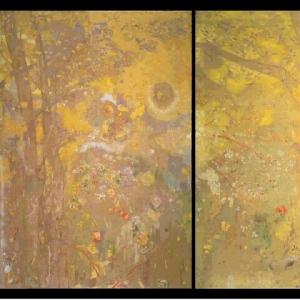 Одилон Редон - Дерево на желтом фоне, 1901
