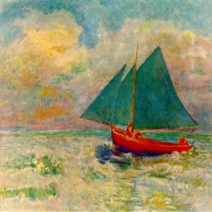Одилон Редон - Красная лодка с парусом, 1906-07