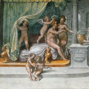 Рафаэль Санти - Вертумн и Помона, получающие подношения (мастерская)