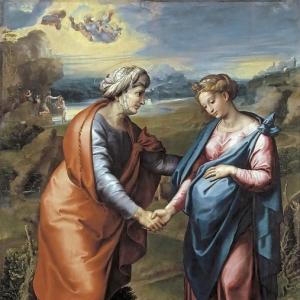 Рафаэль Санти - Встреча Марии и Елизаветы (и мастерская)
