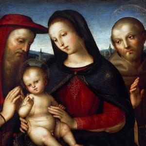 Рафаэль Санти - Мадонна с благословляющим Младенцем со свв Иеронимом и Франциском