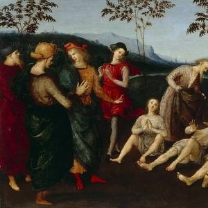 Рафаэль Санти - Евсевий Кремонский воскрешает троих мужчин с помощью плаща святого Иеронима