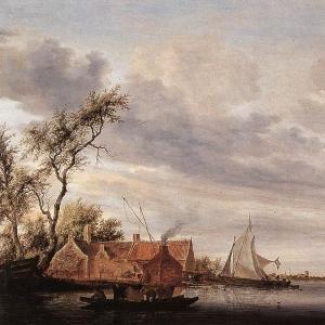 Саломон ван Рейсдаль - Вид на сену с усадьбой