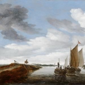Саломон ван Рейсдаль - Речной пейзаж с парусными лодками и лошадью, тянущей барку