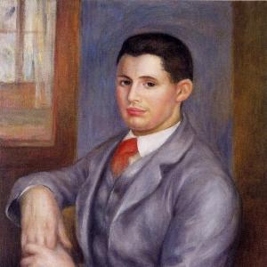 Ренуар Пьер Огюст - Молодой мужчина с красным галстуком - Портрет Эжена Ренуара