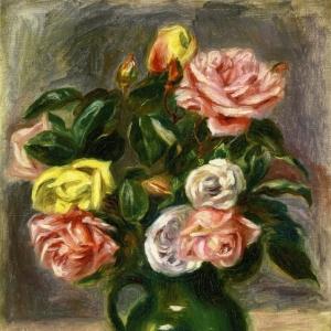 Ренуар Пьер Огюст - Букет роз в зеленой вазе