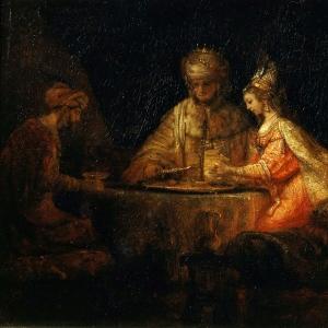 Рембрандт Харменс ван Рейн - Артаксеркс, Аман и Эсфирь