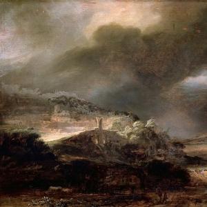 Рембрандт Харменс ван Рейн - Горный пейзаж с грозой