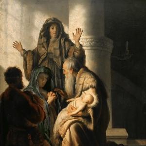 Рембрандт Харменс ван Рейн - Анна и Симеон в храме