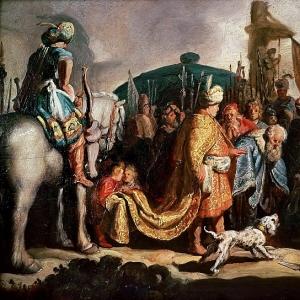 Рембрандт Харменс ван Рейн - Давид с головой Голиафа перед Саулом