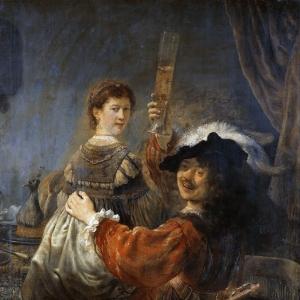 Рембрандт Харменс ван Рейн - Автопортрет с Саскией в образе блудного сына