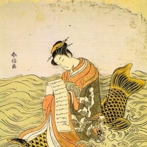 Судзуки Харунобу - Женщина разворачивает любовное письмо