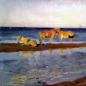 Серов Валентин Александрович - Лошади на взморье. 1905