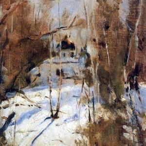 Серов Валентин Александрович - Зима в Абрамцево. Церковь. 1886
