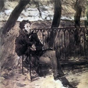 Серов Валентин Александрович - А. С. Пушкин на садовой скамье. 1899