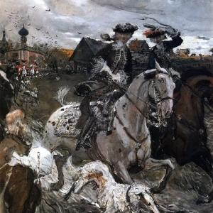 Серов Валентин Александрович - Выезд императора Петра II и цесаревны Елизаветы Петровны на охоту. 1900