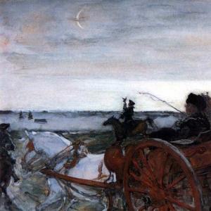 Серов Валентин Александрович - Выезд Екатерины II на соколиную охоту. 1902