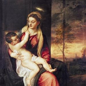 Мадонна с младенцем на закате 1560